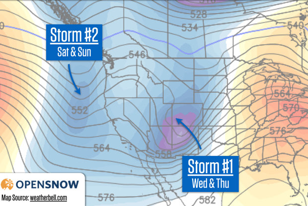 One storm will move through Utah and Colorado on Wednesday and Thursday, while another will bring snow to the Pacific Northwest and the Rockies over the weekend.