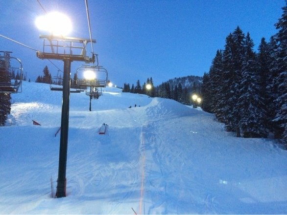 Amazing night skiing tonight. Powder everywhere and several feet through and by the tree lines.