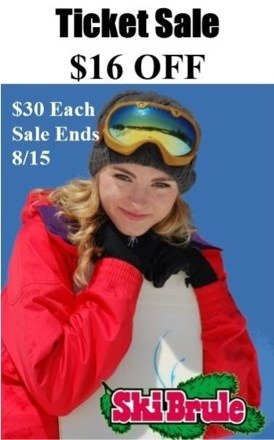 $16 off lift tickets!  $30 each. Sale ends 8/15