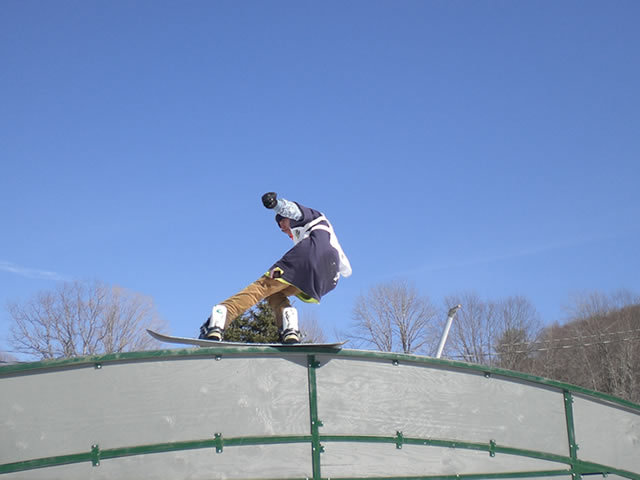 A boarder jibbing at Shawnee Mtn, PA.