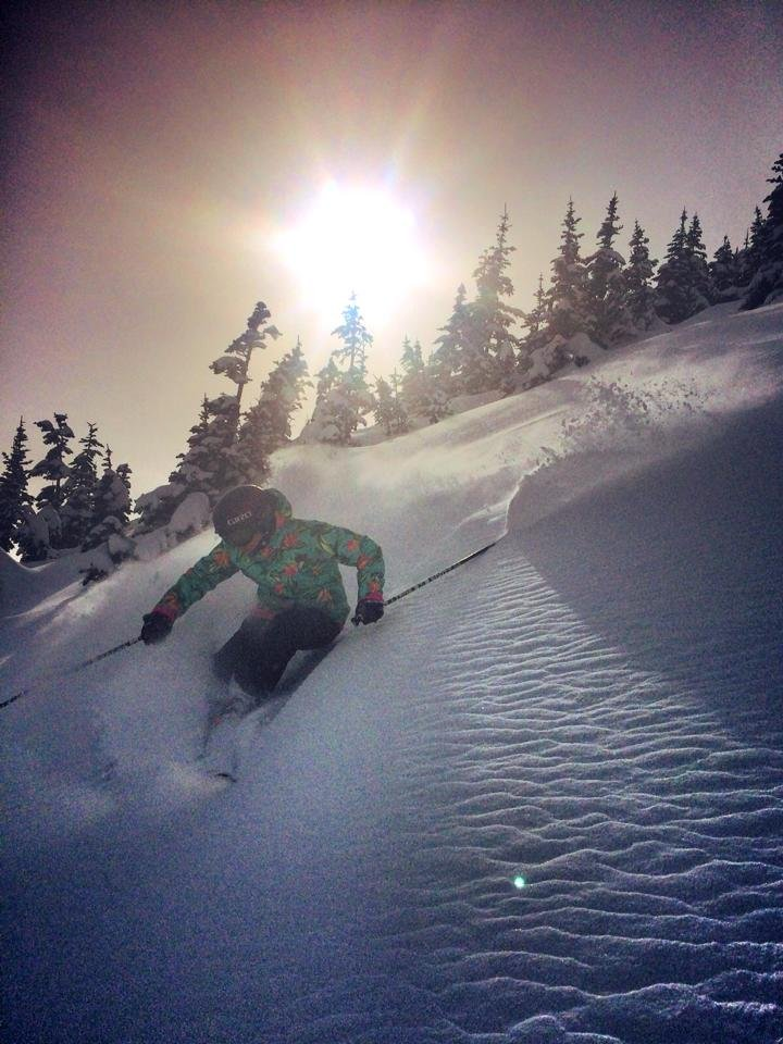 Ingrid Backstrom captures sunshine and powder at Crystal Mountain Resort.
