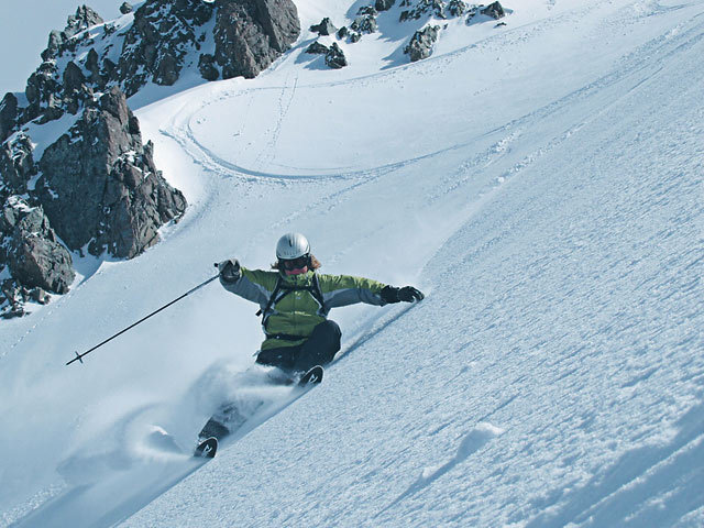 Freeskier exploring the challenging terrain of Craigieburn Valley, New Zealand