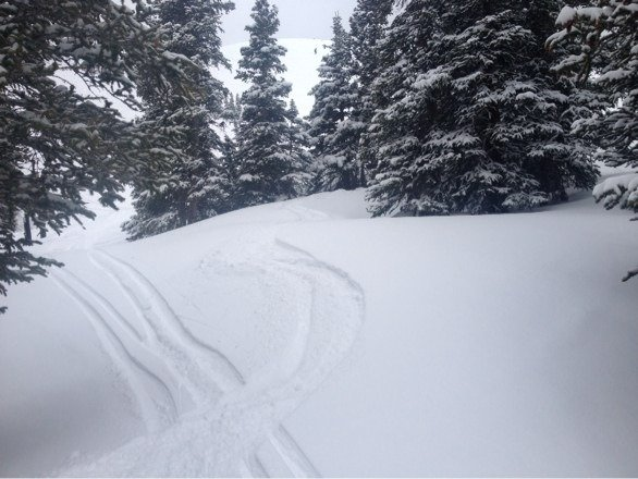 Chunky underneath in spots but upper east wall was magic, knee deep winter conditions. Worth the hike always