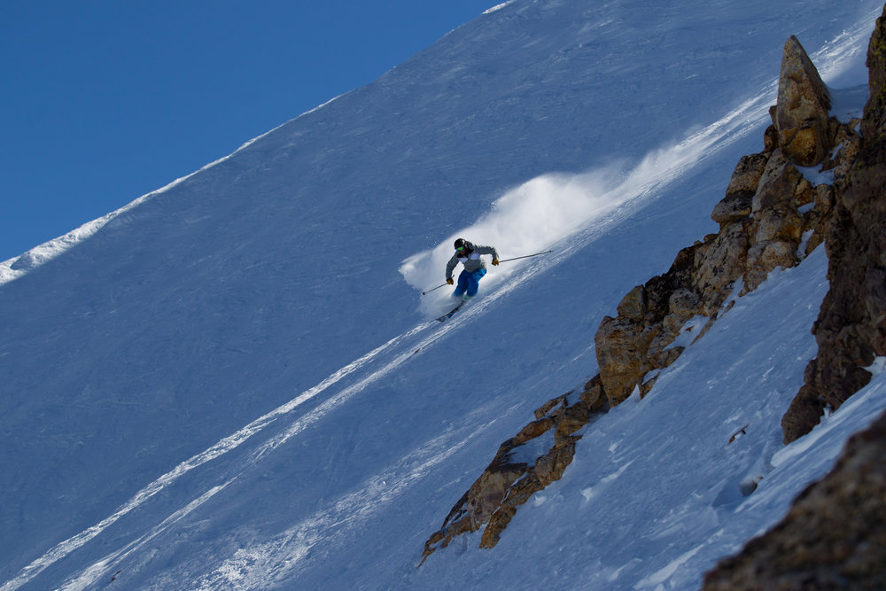 Skiing the steeps at Mammoth. - ©Cody Downard Photography