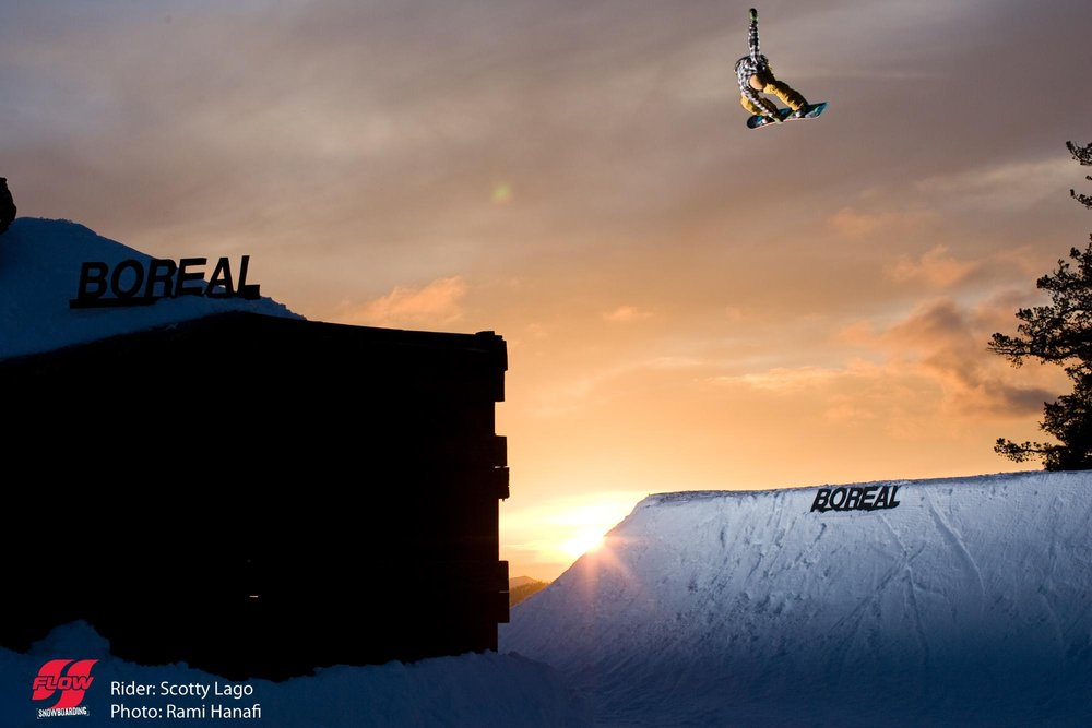 Scotty Lago catching air at Boreal, CA.