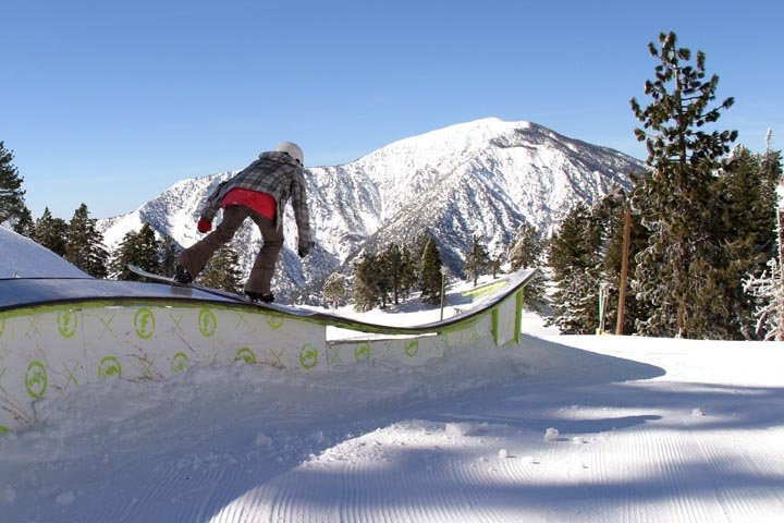 A boarder jibbing at Mt. High, CA.