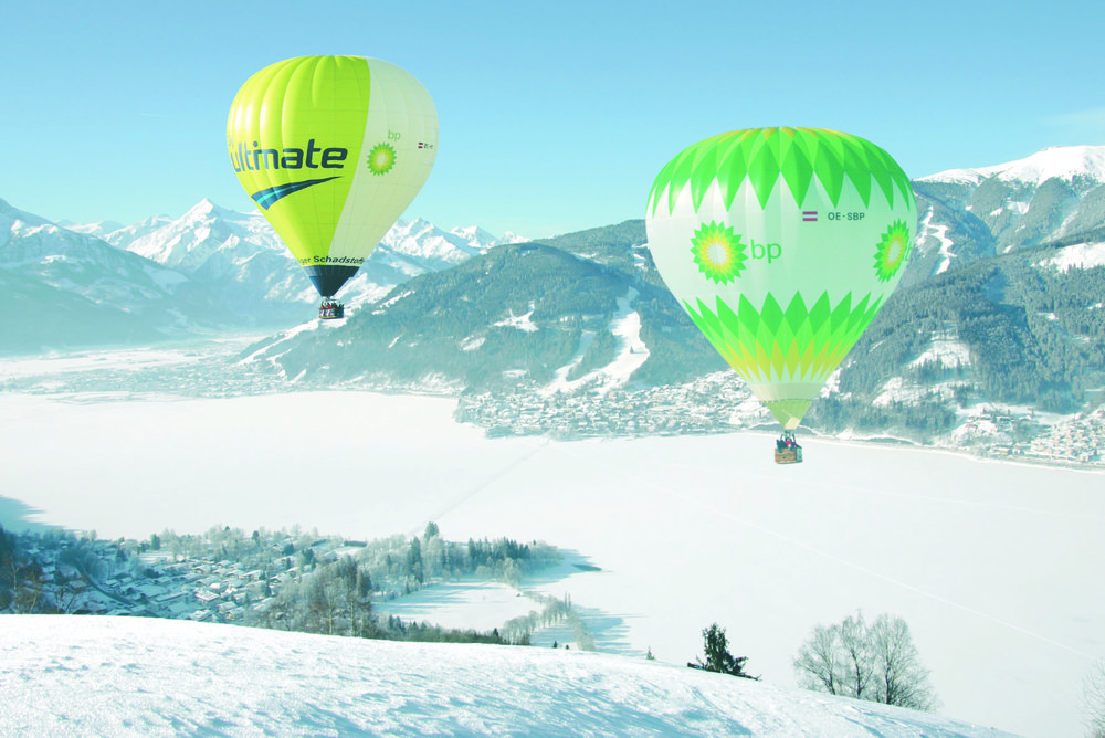 Hot-air balloons above Zell am See-Kaprun