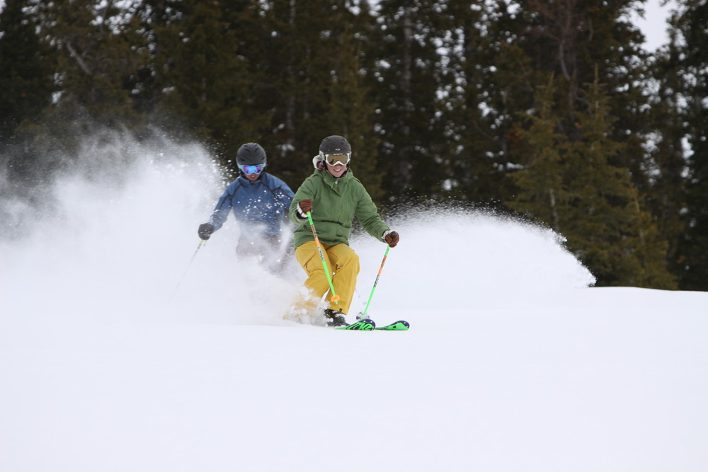 Powder skiers in Crested Butte, CO.