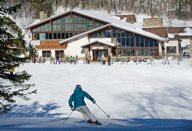 Heading to Tannenbaum Lodge, one of Holiday Valley's three base lodges