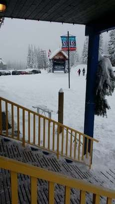 Its snowing nonstop! 2 lifts open thursday.. temp on mountain is -2.. its 130 pm. woot! Can't wait for opening day!