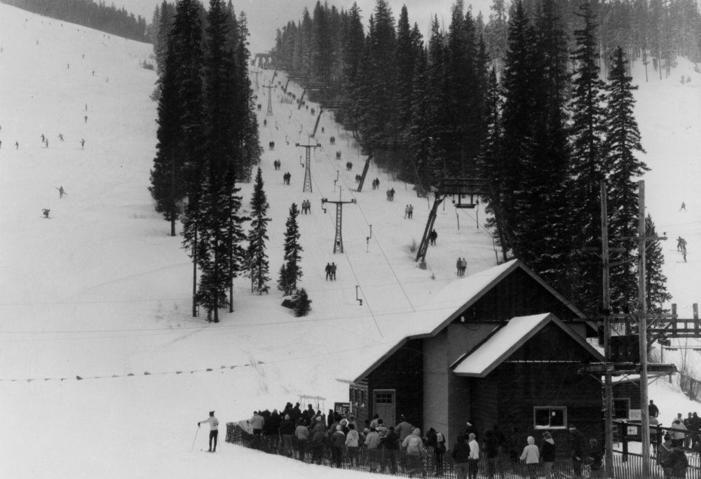Winter Park's original two rope tows in its early years of the 1940s. - ©Winter Park Resort