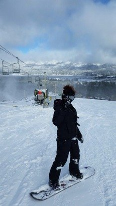 Great day....snow was good, lines long but moved fast... Now all we need is more runs open... Local girl!