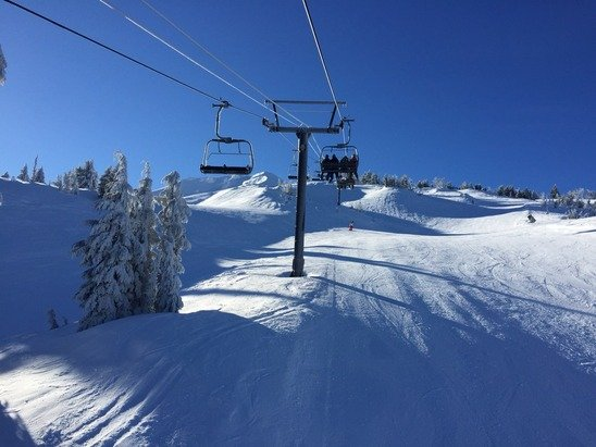 Generally great powder on top of groom, with an occasional hard patch. Great weather!