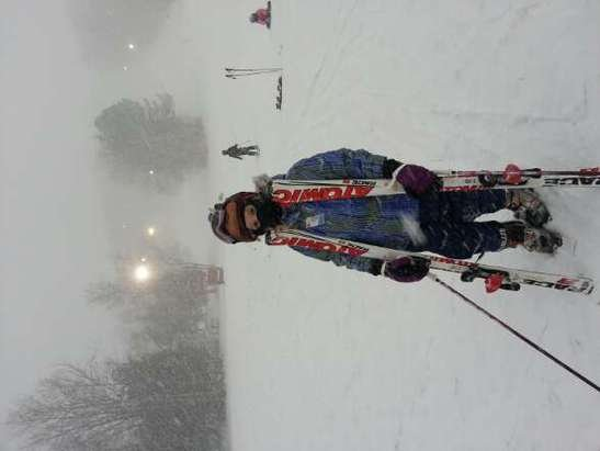 afternoon and evening snowfall is heavy but with little wind. First time my skis have been in