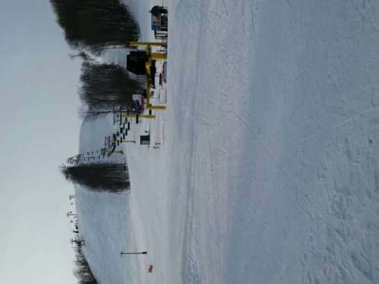 Hard surface Sunday. Monday was much better. Ski patrol said they are done making snow for the year, not sure why.