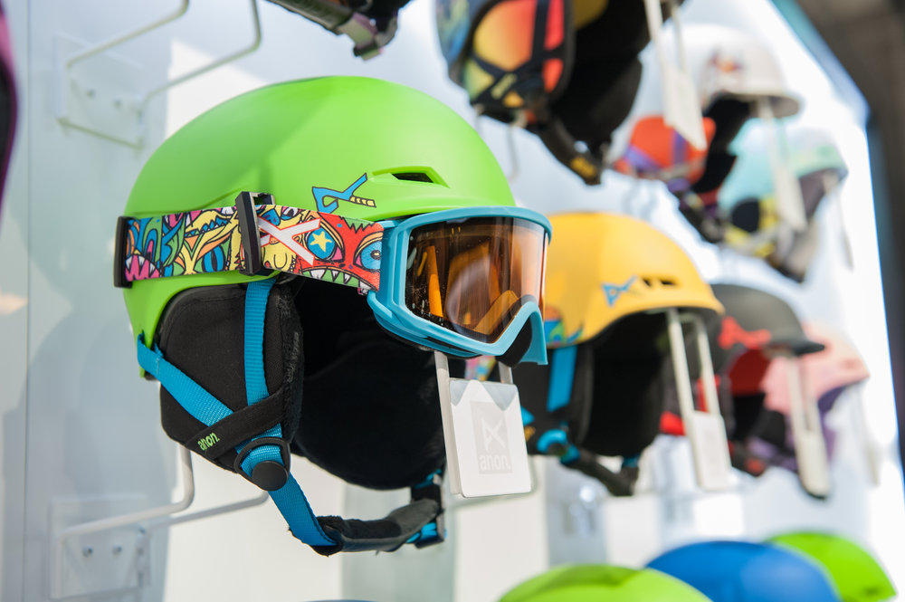 New youth helmet from anon. with Strapper Keeper technology, that piece on the side to ensure the goggles don't gap or flap back.  - ©Ashleigh Miller Photography