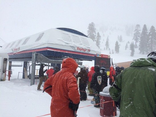 Waiting for lift to open awesome powder day!