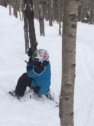 My little tree hugger! Awesome conditions.