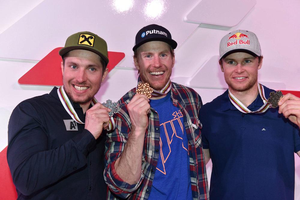 Strahlende Sieger: Gold im Riesenslalom für Ted Ligety, Silber für Hirscher, Bronze für Pinturault - ©Audi Media-Service