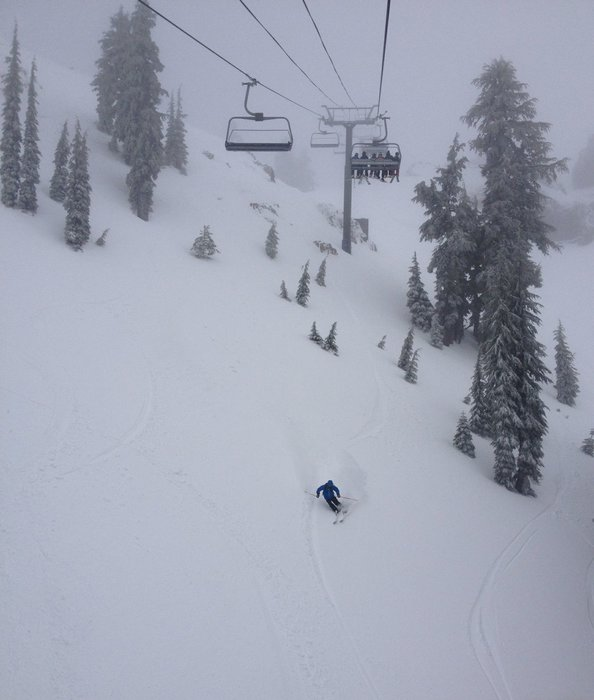 Stormin' the lifts in a storm at Alpine Meadows.