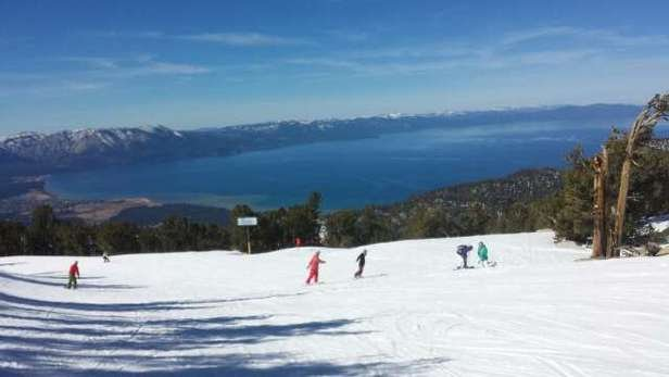 Snow is surprisingly better than I could have imagined.   Spring skiing.