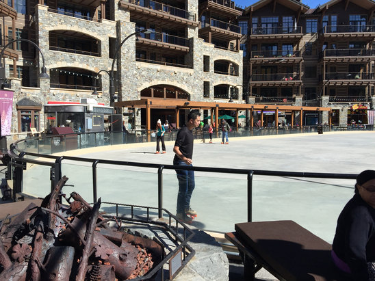 Northstar California - It's slushy on the slopes. Softening up by 10 am. Super warm day. Ditch the ski jacket and go in shorts. Swim suits on saw in the village. Ice rink is now a roller skate rink.   - ©pj415