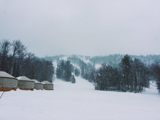 Mount Bohemia - Arrived last night to ski today (3/26).  Has been snowing all night, with the exception of an hour or two of rain.  Still dumping big lake effect flakes this morning.  Should be a great day! - ©Max