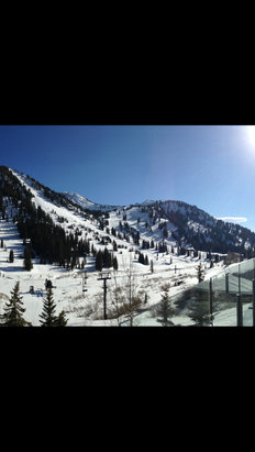 Alta Ski Area - Ice in the morning, warmed up later in the afternoon. Hopefully we will get some snow soon.