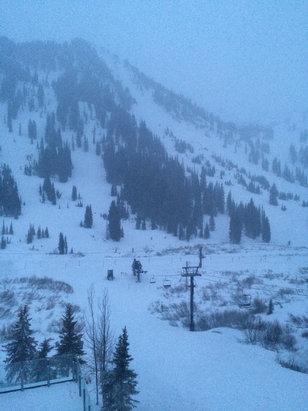 Alta Ski Area - 7:10 in the morning from window of rustler lodge - ©Trey's iPhone