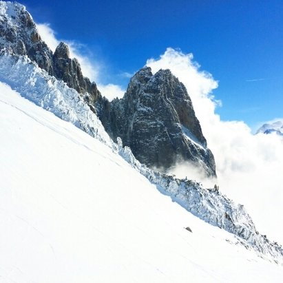 Chamonix Mont-Blanc - Snows a bit soft, but still fun as hell.  Grands Montets is still unreal... spring in the Alpes!