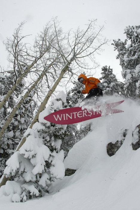 A snowboarder bursting through powder at Durango, CO.