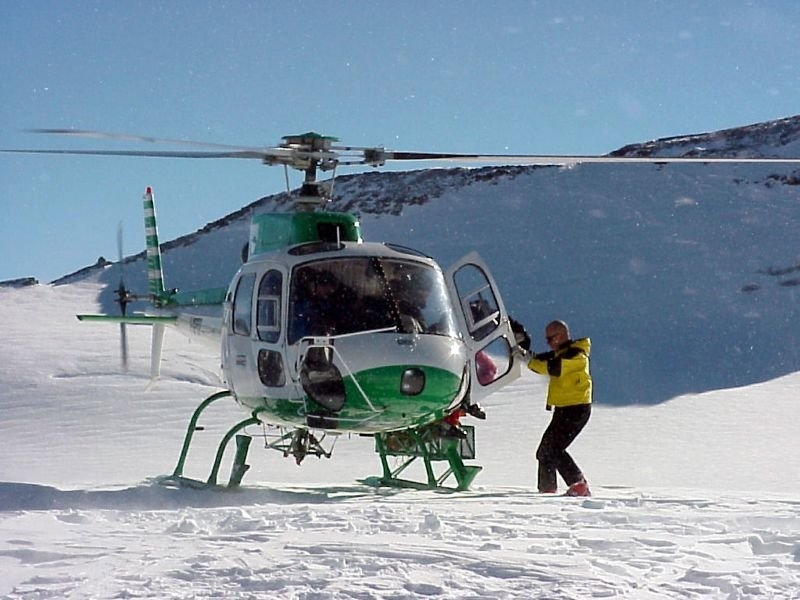Helicopter on mountain in La Thuile