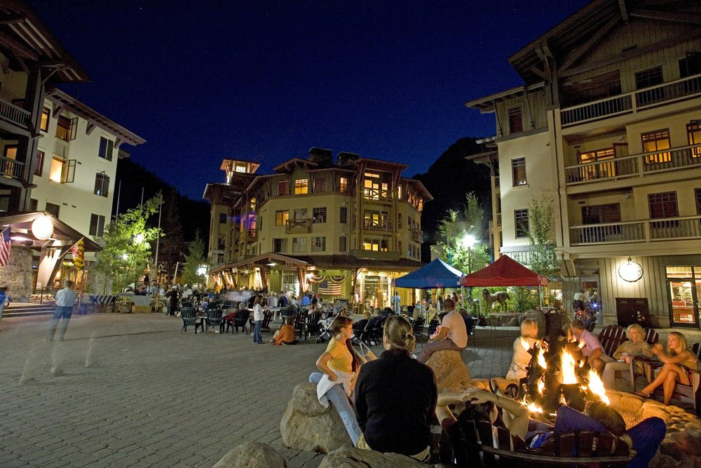 Evening at Squaw Valley main square
