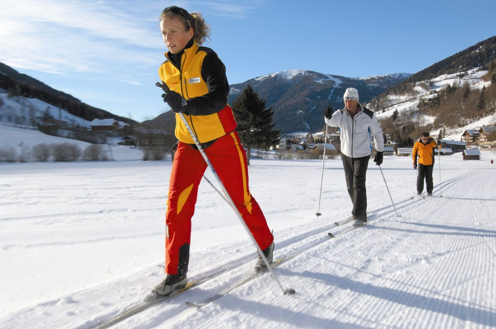 Cross country skiers in Bad Kleinkirchheim, Austria