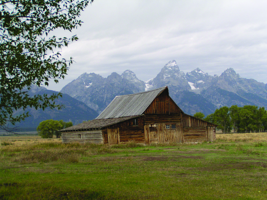 Wooden hut at Mormon Row with backdrop of mountains