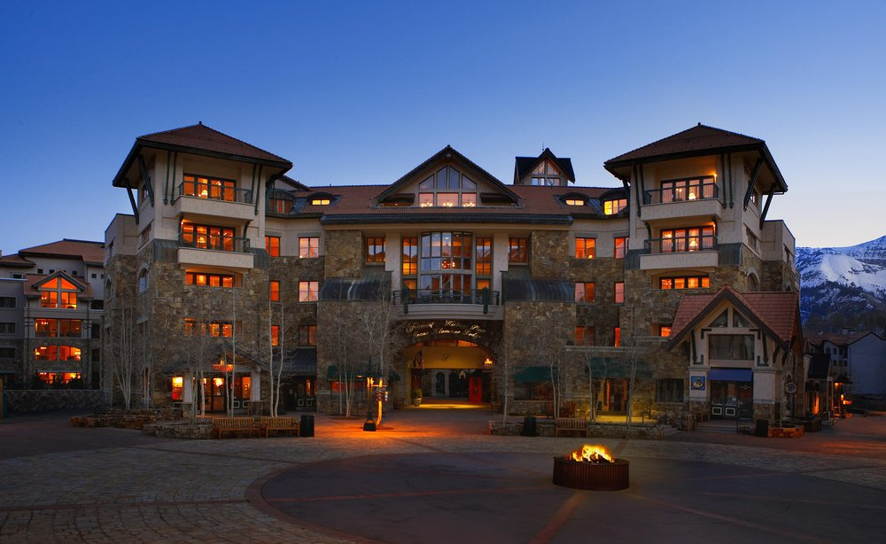 The front exterior of the Franz Klammer Lodge, Telluride, CO.