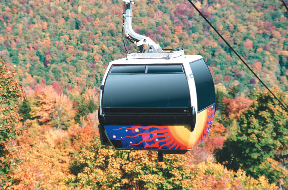 Killington's gondola with an autumn backdrop.