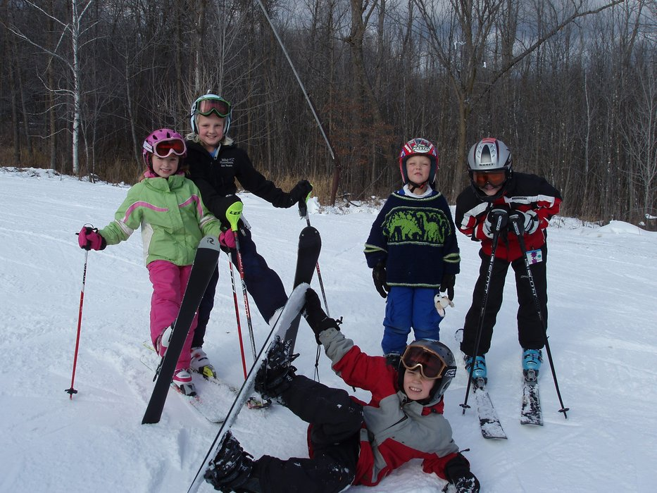 Group of skiers and boarders pause for a picture at Wild Mountain, MN