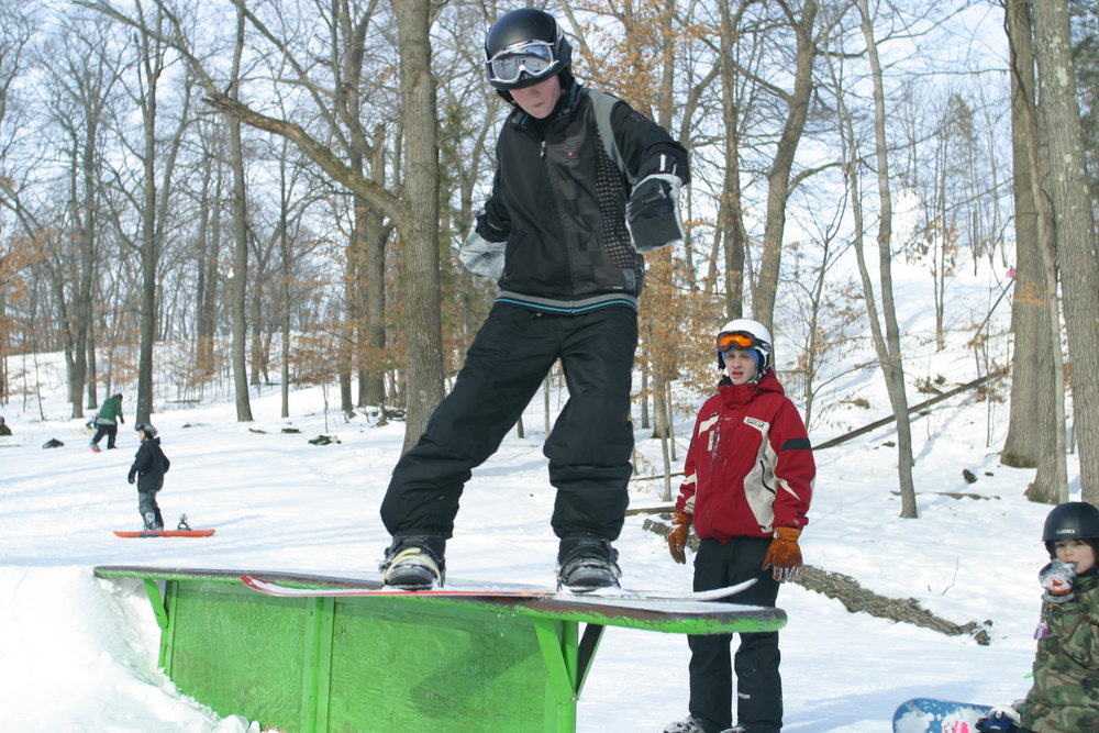 Boarder at Wild Mountain terrain park.