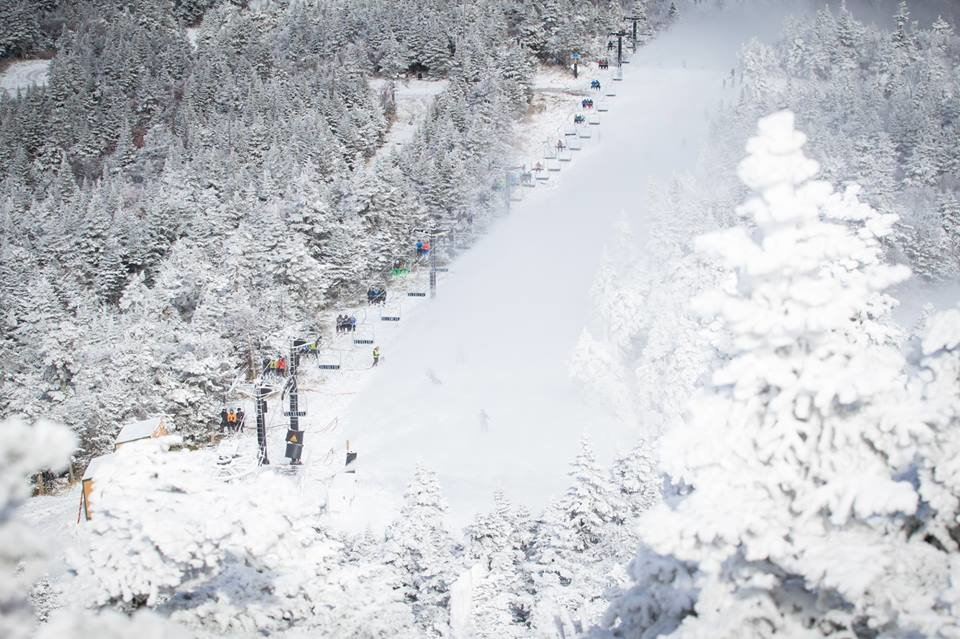 Skiers and riders enjoying some of their first rides to the top. - ©Killington Resort