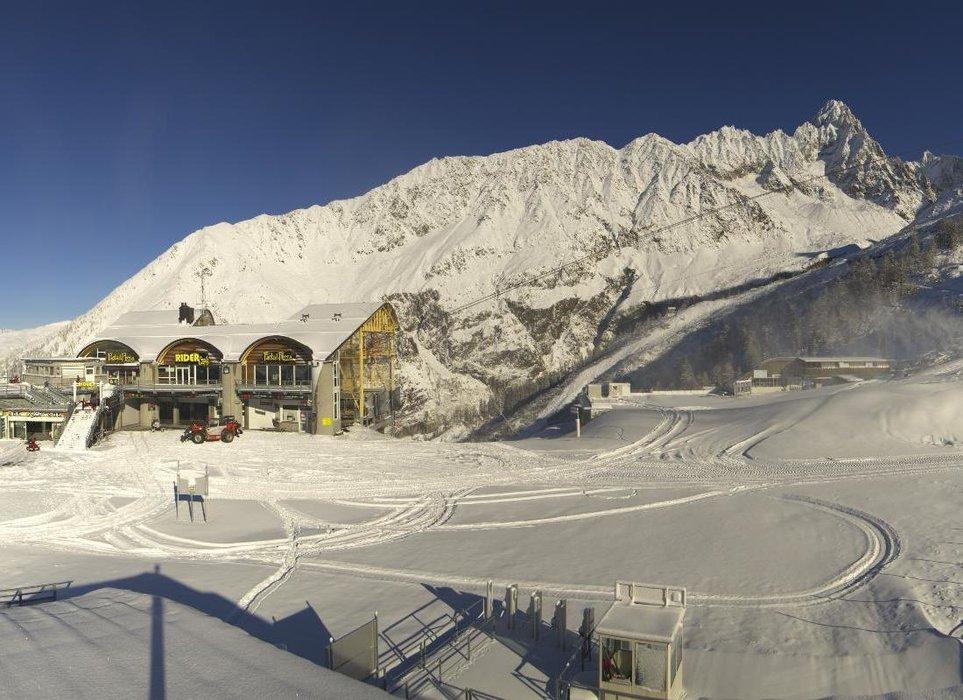 Les Grands Montets ce midi entre neige au soleil