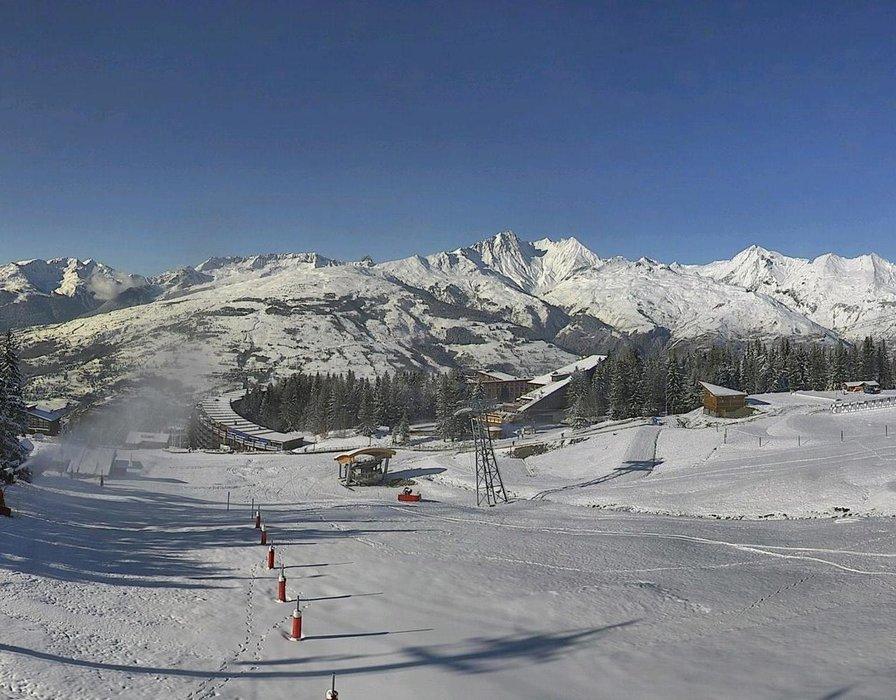 Les Arcs ce midi entre neige et soleil