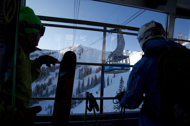 Ride the Aerial Tram to Snowbird's Hidden Peak. Anticipate the freshies below - ©Liam Doran