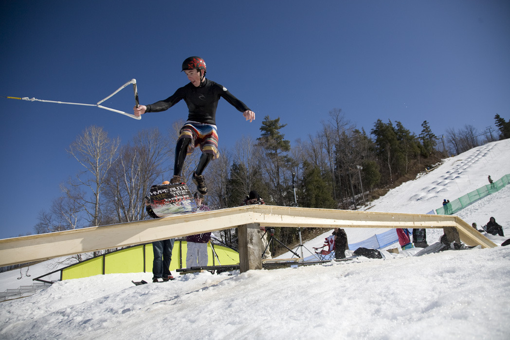 A snowboarder at Calabogie, ONT.