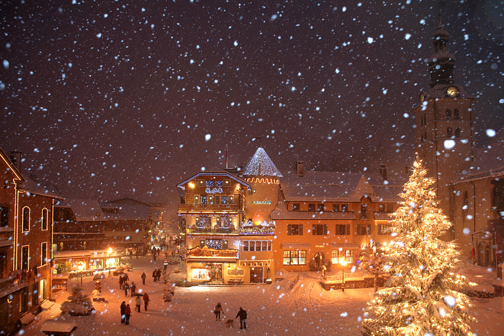 Snowy Megeve, FRA at night.