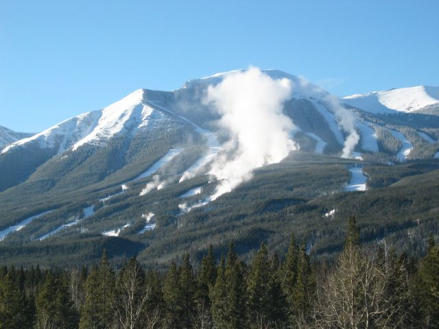 Nakiska, AK in the midst of snowmaking.