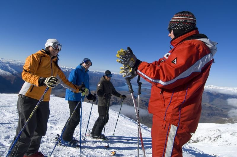 Skiers receiving instruction at Treble Cone, NZ. Treble Cone Images 2006