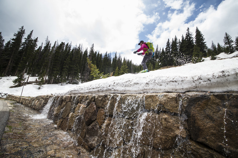 Snow melts literally under your feet while summer skiing in Rocky Mountain National Park. - ©Liam Doran