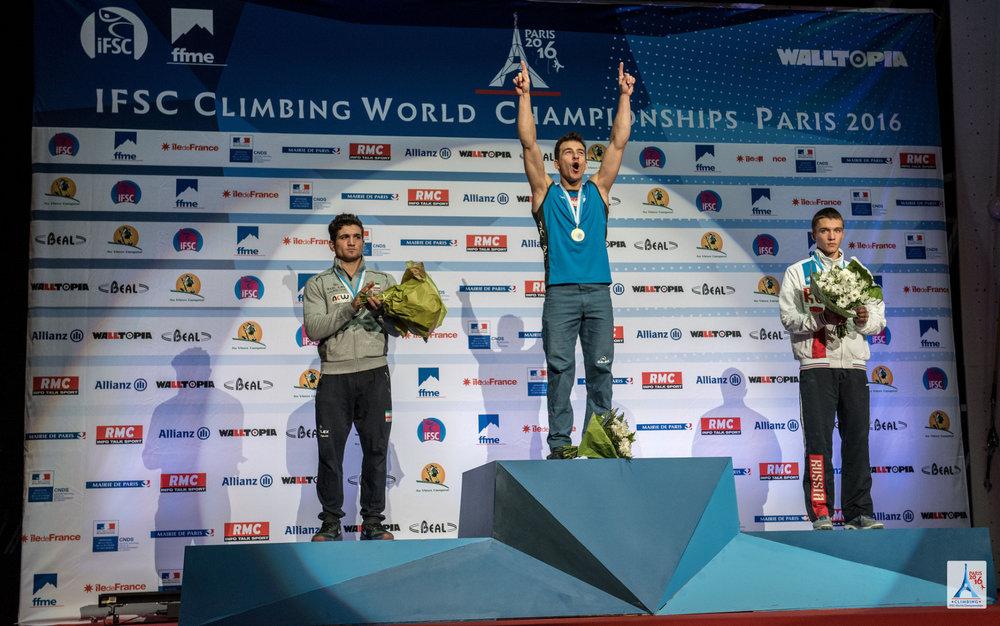 Podium bei den Herren im Speed: Es siegte der Pole Dzienski vor Reza Alipourshena aus dem Iran und Aleksandr Shikov aus Russland - ©FFME / Agence Kros - Remi Fabregue