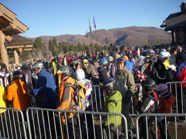 Visitors to Snowbasin, UT waiting to go up the gondola.